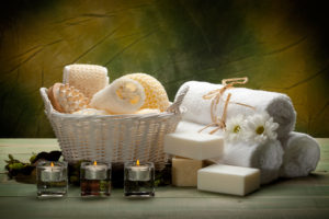 Spa-towels, soap, candles and massage tools